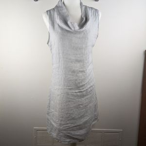 Lina Tomei Blue Linen Cowl Neck Dress